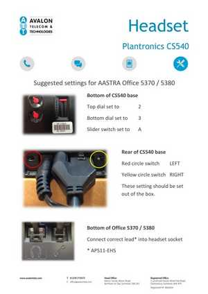 Plantronics CS540 Cordless Headset setup manual