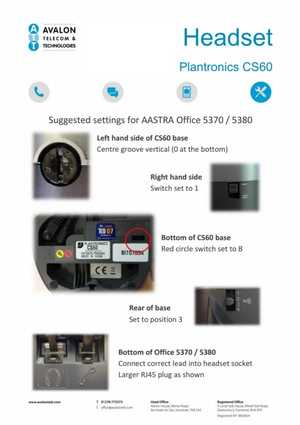 Plantronics CS60 Cordless Headset setup manual