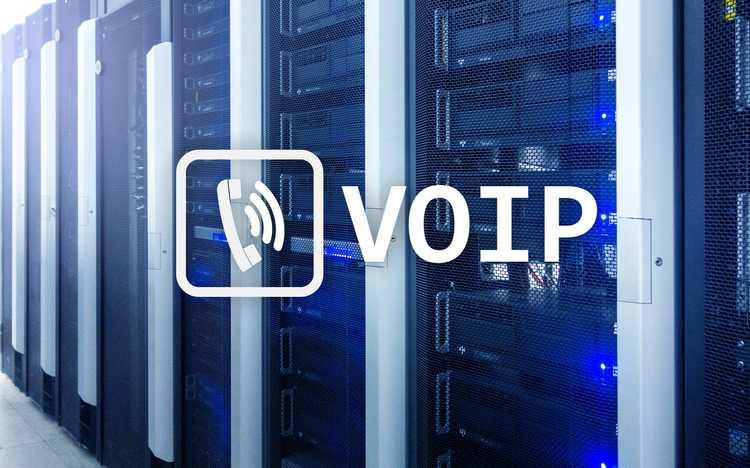 Server cabinets with VOIP logo overlay